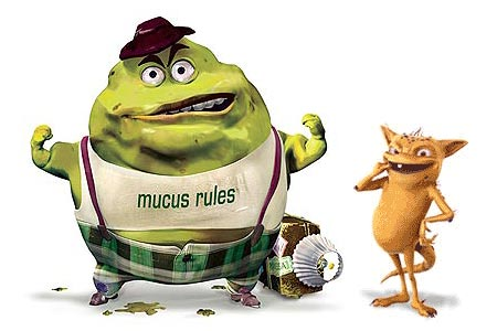 Mucinex and Lamisil mascots