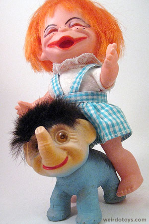 Troll Elephant and Brat Doll